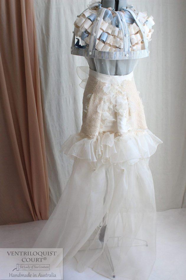 Beach wedding dress, rustic couture dress, Pale Cream & Blue Wedding Dress