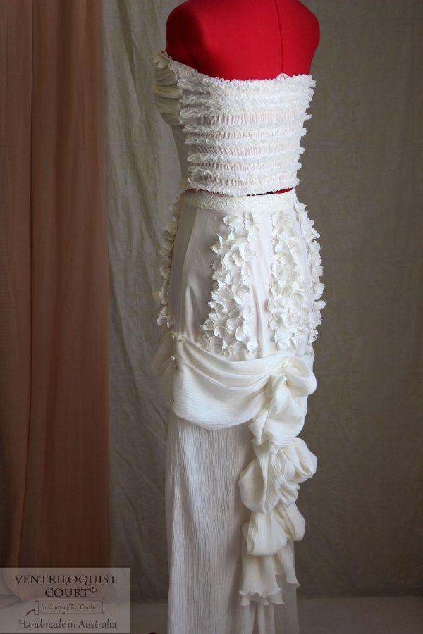 Romantic Cream Bridal Bustle Dress