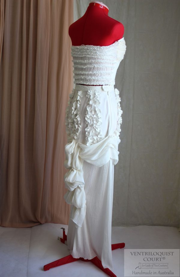 Beach wedding bustle dress; Shipwreck theme dress