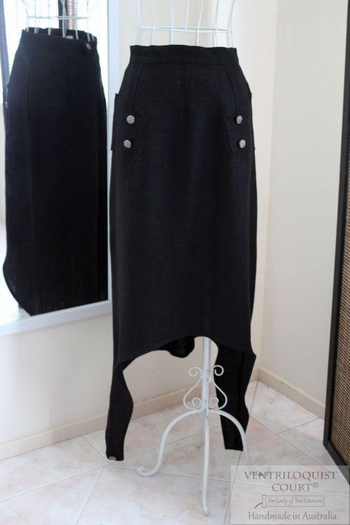 Avant-Garde Black Linen Skirt