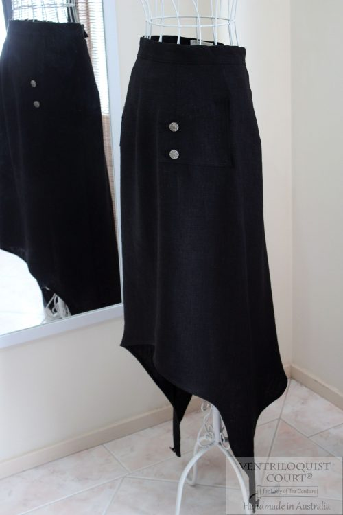 Long Black Avant Garde Linen Skirt