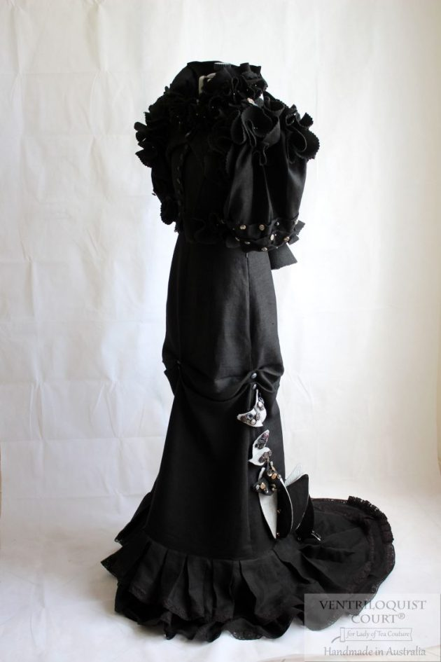 Visual kei style gown (black linen & eco-felt) made in Australia