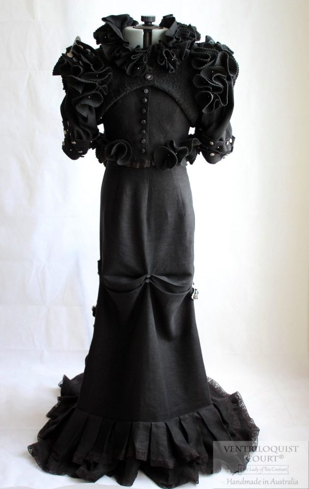 Black Linen Steampunk Circus Wedding Gown