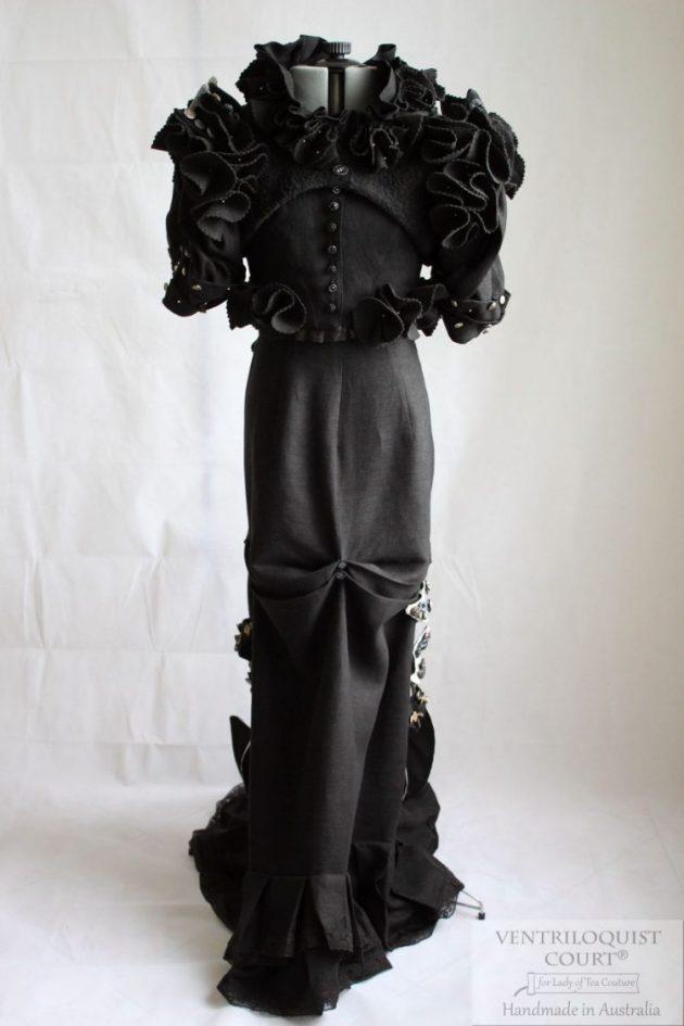 Modern Victorian Steampunk 3pc Linen & Eco-felt Gown