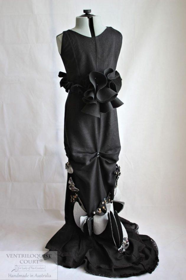Modern Victorian Black Linen Gown Made in Australia