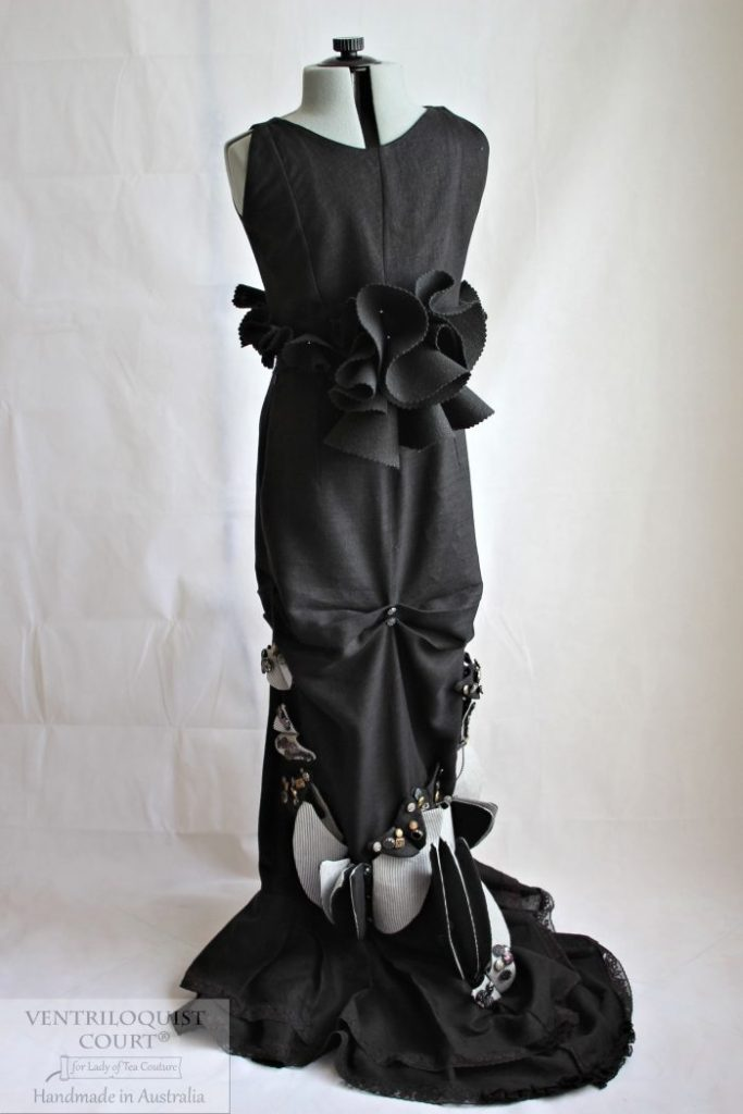 Modern Victorian Black Linen Gown Made in Australia