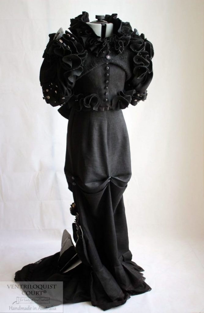 Victorian-Inspired Steampunk Circus 3pc Black Linen Gown with Eco-felt Ruffles