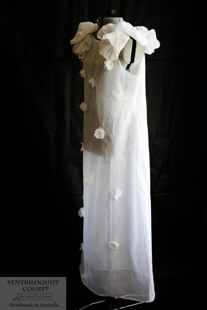 Sheer White Cotton Floral Buds Dress by Ventriloquist Court®