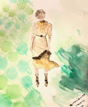 Watercolour Illustration: Rustic Steampunk Dress