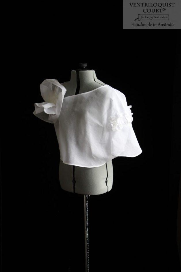 Sheer White Asymmetrical Top Handmade in Australia