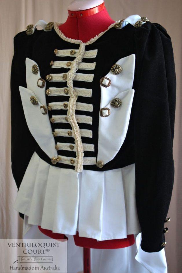 Military Stripes Black & White Steampunk Ringmaster Jacket