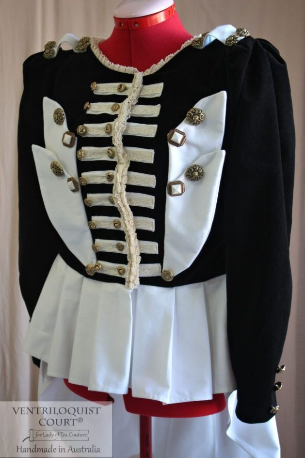 Military Stripes Black & White Steampunk Ringmaster Jacket