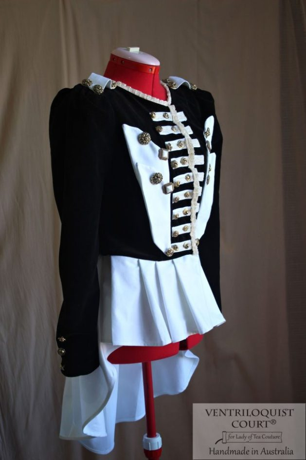 Military Stripes Black & White Steampunk Jacket - Online Steampunk Store Ventriloquist Court®