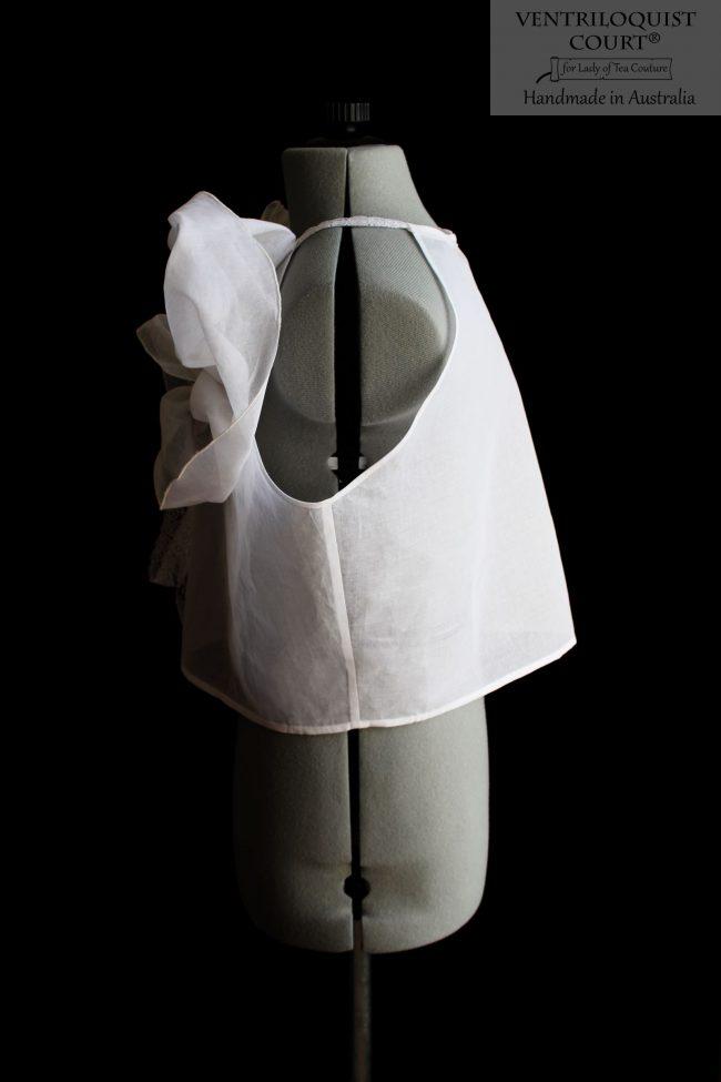 Sheer designer white cotton top