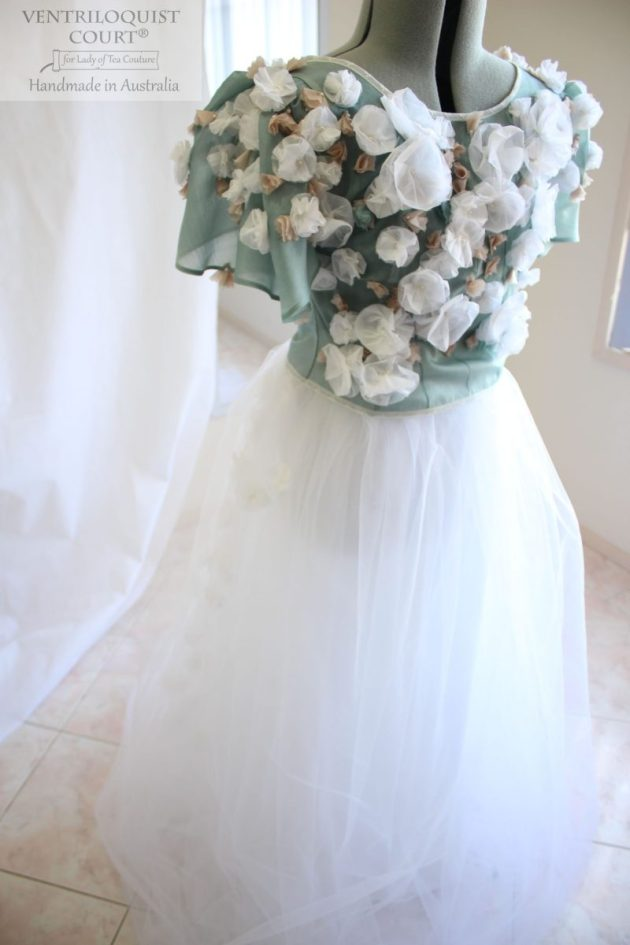 Romantic tulle gown with 3D flowers