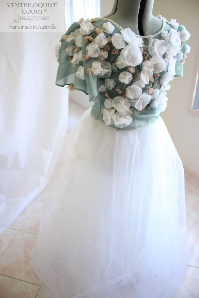 Romantic gown with 3D flowers made in Australia