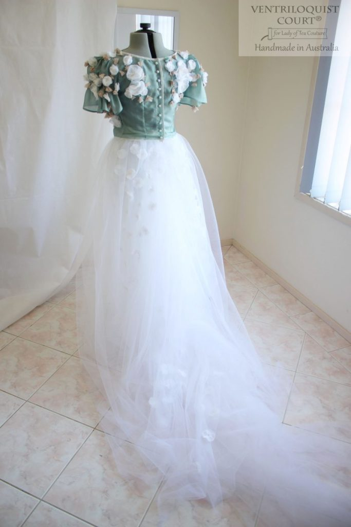 Bridal tulle gown will trail handmade in Australia