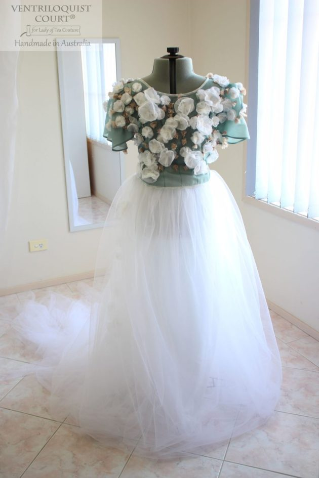 Duck Egg Green & White Peace Silk & Tulle Gown