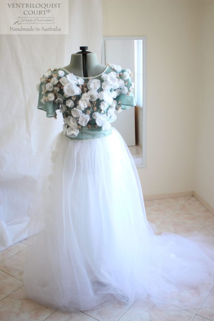 Couture peace silk and tulle dress