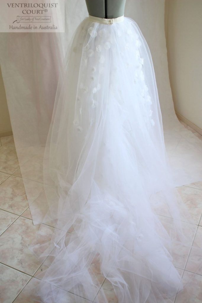 Bridal tulle skirt with trail