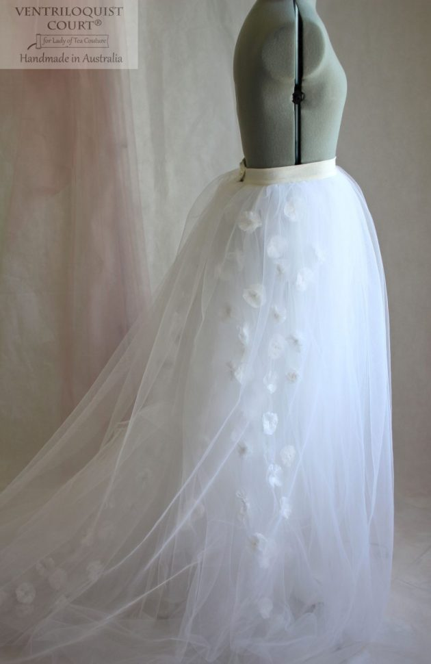 Romantic wedding tulle skirt with white flowers