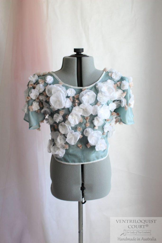 Bohemian bridal peace silk blouse with 3D flowers
