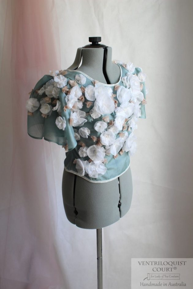 Green & white wedding top