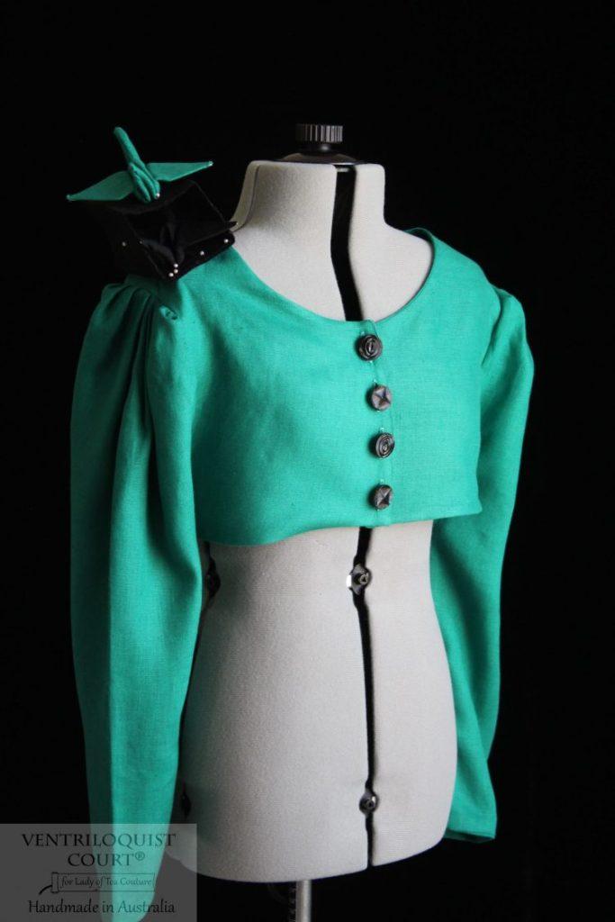 Green Linen Avant-Garde Jacket