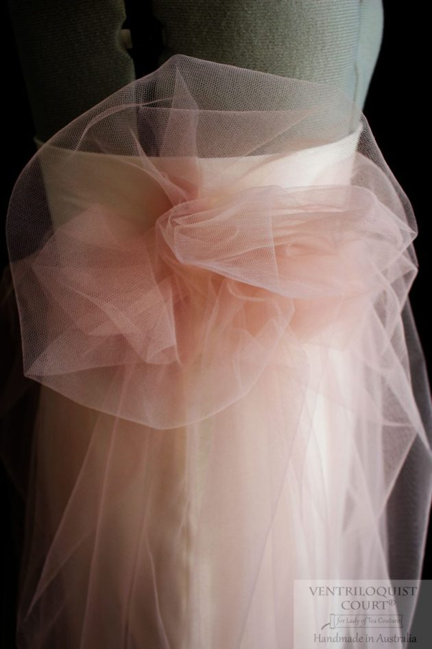 Blush tulle skirt with large flower