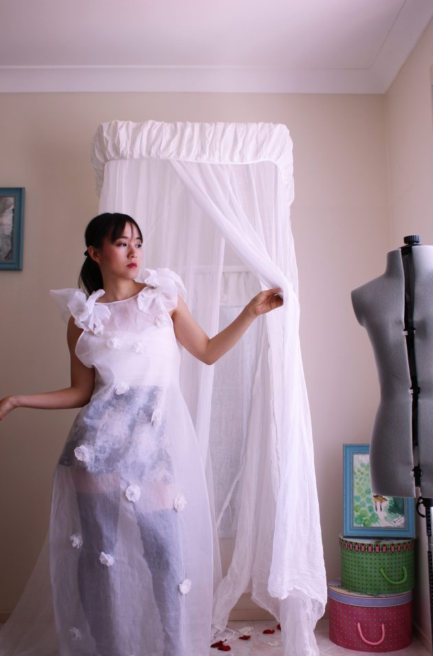 White Sheer Romantic Designer Dress with Ruffles