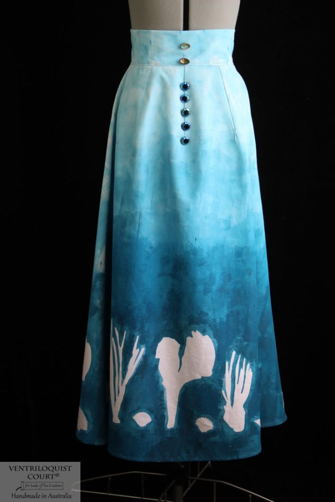 Hand-painted blue underwater sea skirt