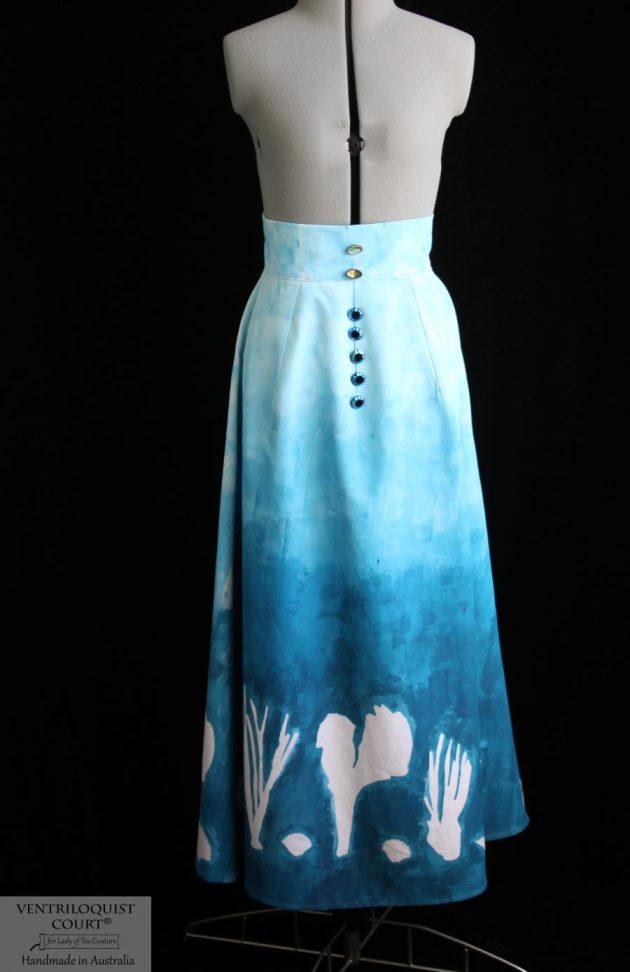 Hand-painted gradient blue underwater sea skirt