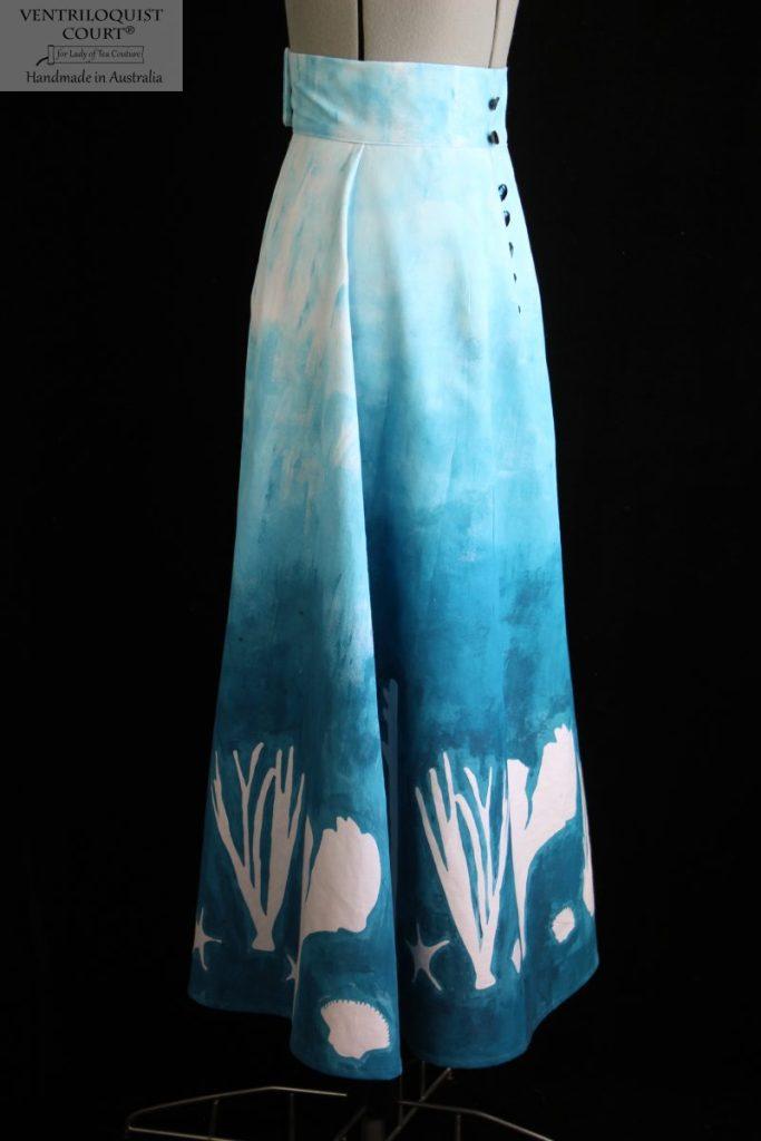 Long blue cotton skirt handmade in Australia