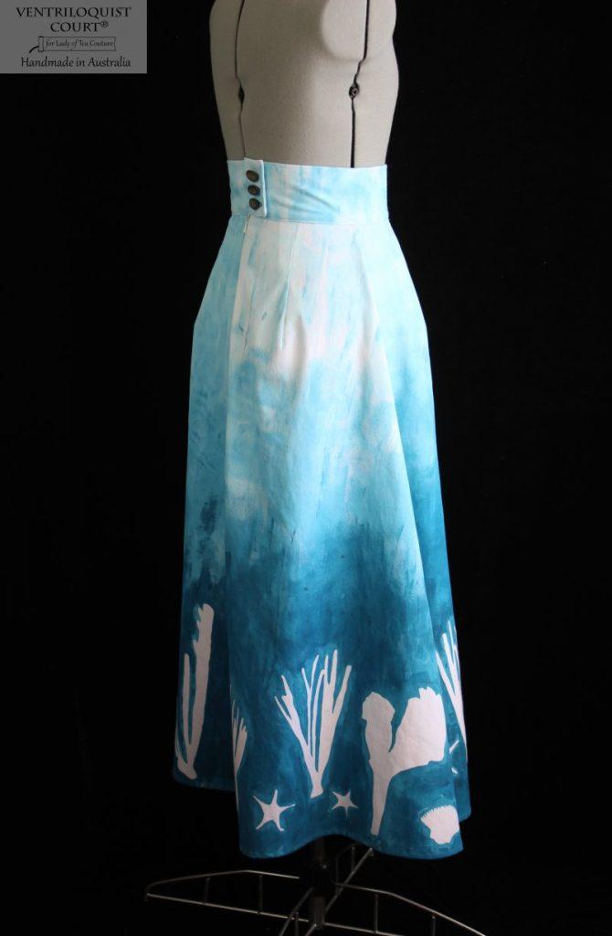 Tailored art print long cotton skirt