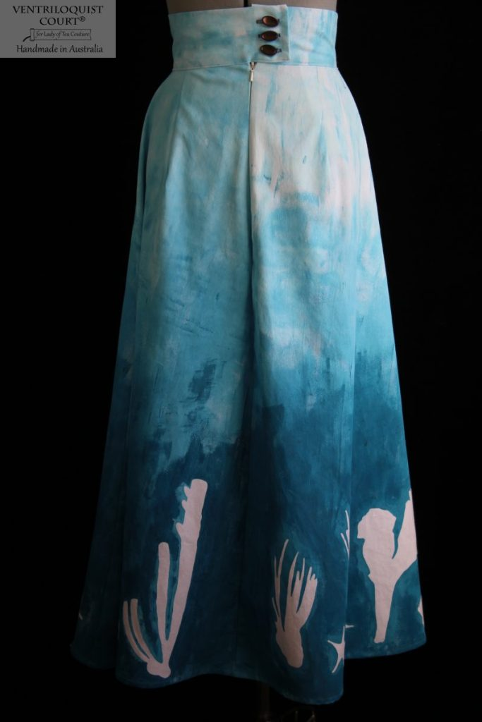 Hand-painted blue gradient skirt