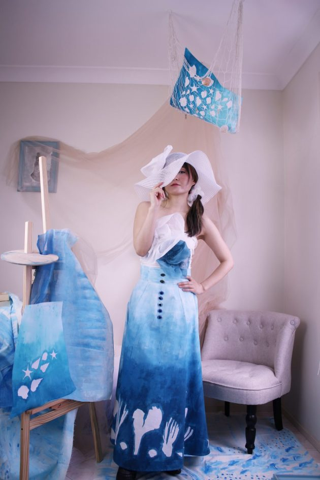 Blue sea themed art skirt