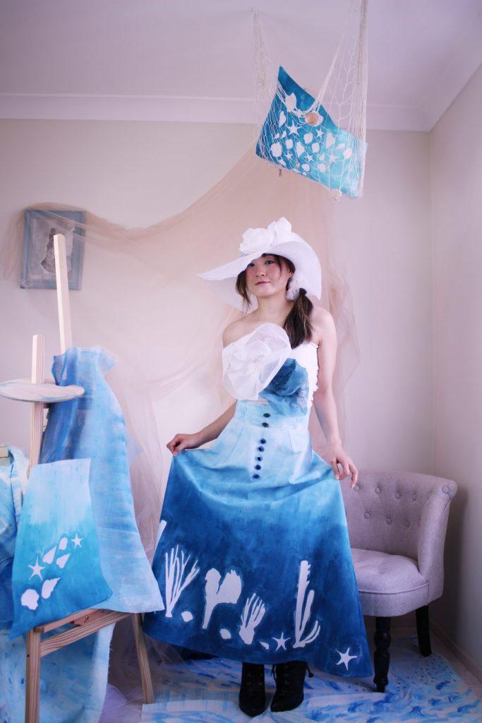 Underwater art skirt handmade in Australia